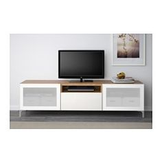 BESTÅ TV bench - oak effect/Selsviken high-gloss/white frosted glass, drawer runner, soft-closing - IKEA