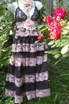 Black lace dress  tulle babydoll rose prom goth  small  medium  by vintage opulence on Etsy. $150.00, via Etsy.