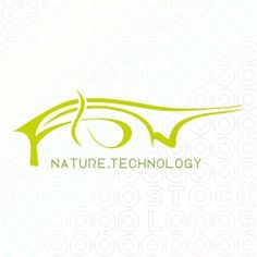 Flow logo. Im not sure this logo reads nature technology without the tagline. It is super awesome and i love the color