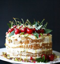rustic Christmas cake 5 layers topped w/cherries & crushed pistachios Christmas Sweets, Noel Christmas, Christmas Goodies, Rustic Christmas, Christmas Baking, Christmas Cakes, Just Desserts, Dessert Recipes, Yummy Recipes