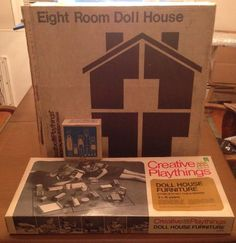 1969 Creative Playthings Dollhouse w 6 Rooms of Furniture Boxed Made in Finland | eBay