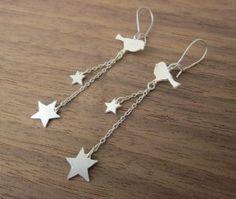 boucles oiseau étoile argenté de Shlomit Ofir