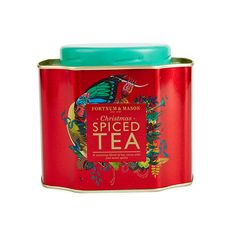 Fortnum & Mason Christmas Spiced Tea loose leaf tin ... red with Christmas decoration, square with concave corners and teal screw on cap lid, 2015, London, UK