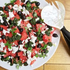 #summer on a plate - watermelon feta and olive salad with my homemade basil oil using @thegayfarmer & Greek basil from @waitrose - this is one of those perfect salads when it's almost too hot to eat. Watermelon is high in lycopene - a powerful #antioxidant which has been shown to prevent prostrate breast and lung #cancer amongst others. Watermelon & cucumbers are incredibly hydrating so no wonder they are hugely popular in the Southern #mediterranean Make sure the watermelon is chilled…
