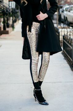 A tuxedo pant with ribbing is already on my list of ultra-fabuous, menswear inspired pieces to have in your wardrobe. But oh my goodness, if these golden sparkle, cigarette, tuxedo pants aren't the most glamorous thing walking down the street, I'm not sure what is. Stick to black for the rest of the outfit, don't try to outshine these trousers, it's not going to work! Image from Pinterest.