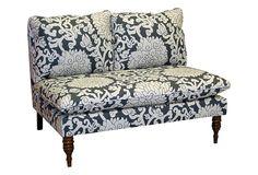 The Art of Upholstery - Bacall Armless Settee, Smoke.  Pretty little settee