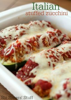 This Italian Stuffed Zucchini from SixSistersStuff.com is a delicious way to get a few more veggies in your diet! #sixsistersstuff