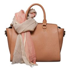 Two-Fer Deal! (a $116 value for only $96) Lizzy Shoulder Bag in Off White and the Blooming Stripes Scarf in Coral P