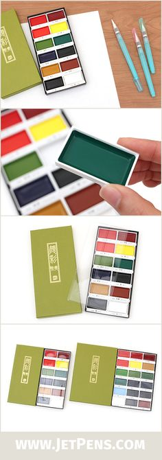 The Kuretake Gansai Tambi Watercolor Palettes are available in a set of 12 or 18 colors! Watercolor Tips, Watercolor Techniques, Art Techniques, Watercolor Paintings, Kuretake Gansai Tambi, Jet Pens, Penmanship, Drawing Tools, Art Studios