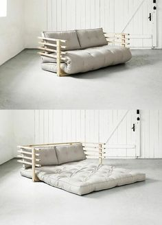 Erstmal auf's Sofa oder gleich ins Bett? Mit unserm Schlafsofa Karup fällt die … First on the sofa or straight to bed? With our Karup sofa bed, the choice is easier; Pallet Furniture Outdoor Couch, Diy Furniture Couch, Living Room Furniture, Furniture Design, Rustic Furniture, Antique Furniture, Pallet Futon, Pallet Room, Furniture Ideas