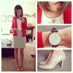 love the red sweater// nude skirt// white shell top// nude heels