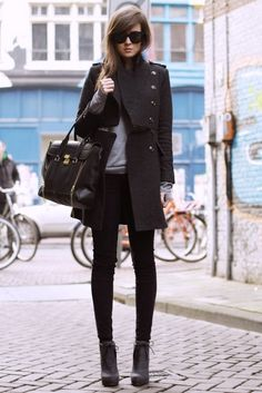 Military coat with skinnies and boots; navy, grey and black