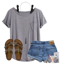 #summer #outfits / Grey Tee + Denim Shorts