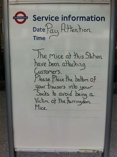 Beware of the Mice ! The warning on the offical TfL notice was spotted at Farringdon Station in London London Underground, Underground Tube, British Things, British Humor, London Transport, Transport News, Transport Posters, Mind The Gap, London Calling