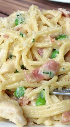Chicken Carbonara Recipe ~ Creamy, rich, yummy, flavorful and easy to make