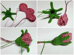 crochet rose buds @Anna Totten Halliwell Boyd Fontaine collection