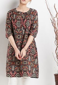 Retro print linen dresses half sleeve sundress secret face summer shift dresses1
