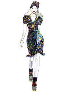Anna Sui SS 2012 Illustrated by Sunny Gu