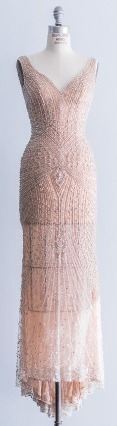 Stephen Yearick Peach Blush Beaded Gown