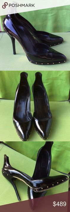 Gucci authentic patent leather studded pumps Very light and comfortable,preown but good condition Gucci Shoes Heels