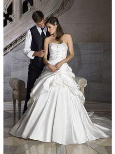 A-Linie Trägerlos Kapelle-schleppe Perlen verziert Satin Hochzeitskleid