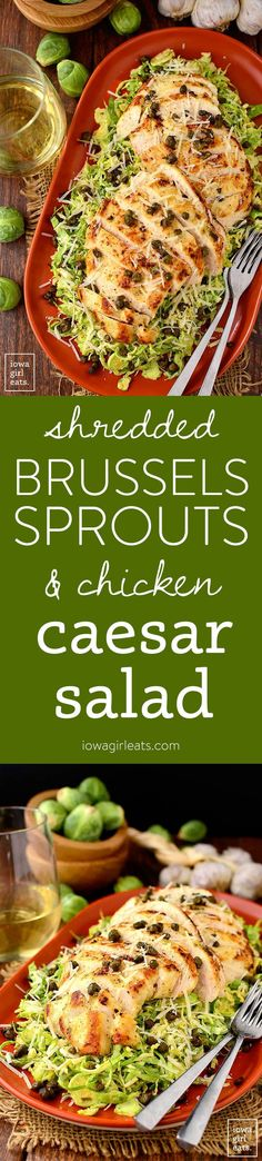 Shredded Brussels Sprouts & Chicken Caesar Salad with crispy capers is a healthy, gluten-free take on Caesar Salad, with lots of crunch and flavor! | iowagirleats.com