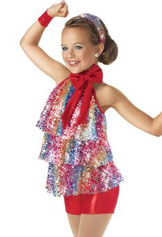 Rainbow Sequin Tiered Biketard -Weissman Costumes