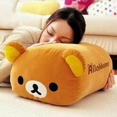Rilakkuma is ready to cuddle! This adorable plush cushion makes Rilakkuma the perfect size to lay around and snuggle up with anywhere in the house. He can even be used as a comfy arm or foot rest while lounging around in front of the TV. #rilakkuma #japan #kawaii #cute