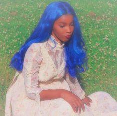 Black Girl Aesthetic, Aesthetic Hair, Pretty People, Beautiful People, Catty Noir, Blue Wig, Frontal Hairstyles, Poses, Grunge Hair