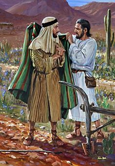 "2 Kings 2 and 4 - Then Elijah said to him, ""Stay here, Elisha; the Lord has sent me to Jericho."" And he replied, ""As surely as the Lord lives and as you live, I will not leave you."" So they went to Jericho. Free Bible Images, Bible Pictures, Jesus Pictures, David Biblia, Prophets And Kings, Arte Judaica, Bible Illustrations, Biblical Art, Old Testament"