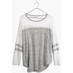 MADEWELL Frontrunner Tee in Colorblock ($25) ❤ liked on Polyvore featuring tops, t-shirts, shirts, tees, hthr slate, tee-shirt, stripe t shirt, vintage football jerseys, striped tee and vintage tee-shirt