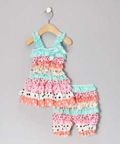 Take a look at this Aqua & Coral Polka Dot Dress & Shorts - Infant by Under The Hooded Towels on #zulily today!