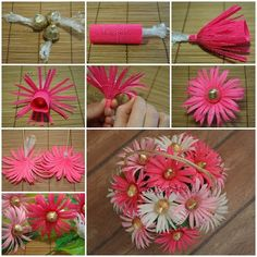DIY Chocolate Gerbera Flower Bouquet Flowers and chocolates are two common choices for gifts. Then why not combine these two awesome things and make something even more awesome? Here is a great DIY project to make a chocolate gerbera flower bouquet. Candy Flowers, Crepe Paper Flowers, Diy Flowers, Fabric Flowers, Paper Peonies, Bouquet Cadeau, Gift Bouquet, Wedding Bouquet, Lollipop Bouquet