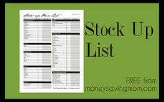 Stock-Up Lists: Keep track of the usual prices for a number of pantry items.