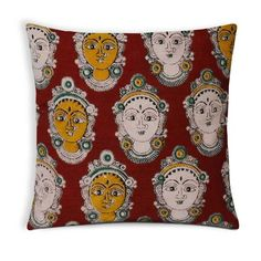 Goddess Faces Cotton Kalamkari Pillow Cover in Red