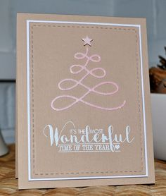 Clearly Besotted Christmas Card by Inky Fingers. Love the CAS design and the kraft colour.