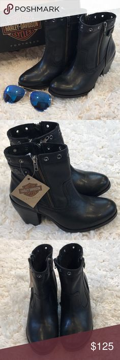 💥NEW💥Harley Davidson Inwood Black Ankle Boots These are new in box leather boots.  They are comfortable and chic. Great for day or night! Harley-Davidson Shoes Ankle Boots & Booties