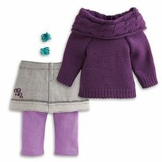 American Girl Mckenna - McKenna's School Outfit by American Girl. $39.99. This cozy outfit is perfect for staying warm in Seattle weather.. McKenna dresses for warmth on school days. This outfit features: A cowl-neck, cable-knit sweater with ribbing at the waist Lavender leggings layered underneath an embroidered denim skirt, featuring a frayed edge and starry ribbon graphic A pair of turquoise hair clips and two-tone shoes to add pizzazz, head to toe Plus, girls can use the i...