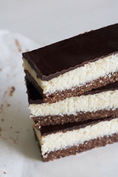 No-Bake Chocolate Coconut Slice. Raw chocolate brownie base, with fluffy coconut, and a thin chocolate layer that's smooth but also has a slight crunch. Reminiscent of a bounty bar!