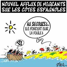Dilem  (2017-07-28) Migrants sur les cotées espagnoles