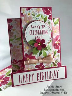 Goodbye Best Dressed, Hello Flowers For Every Season | Just Stampin' Birthday Cards For Women, Handmade Birthday Cards, Greeting Cards Handmade, Side Step Card, Stepper Cards, Box Of Sunshine, Fun Fold Cards, Stamping Up, Flower Cards