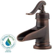 Pfister Ashfield Single-Handle Low-Arc Bathroom Faucet Rustic Bronze F-042-YPOU