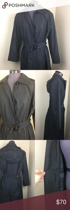 Black London Fog Trench Rain Coat Black trench/raincoat from London Fog. Has long belt, detachable hood, and extra buttons in the original plastic. Excellent condition, worn twice. Size 8 petite. London Fog Jackets & Coats Trench Coats