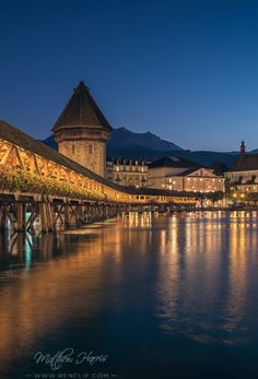 """""""Lucerne Chapel Bridge by Night"""", throwback to my time in Switzerland. You can now edit your masterpiece on your phone with my new Travel lightroom presets for mobile. Come and see!"""