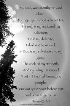 BLACK INSPIRATIONAL ART | Inspirational Black and White Photography Art Gift Psalm 62: 5-8, 8x12 ...