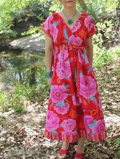 This is aPAPERpattern; click here for the digital (PDF downloadable) version of this design. Be relaxed and carefree with the Diane Kimono Dress! This super comfortable design is as easy to make as