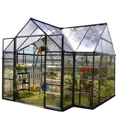 Buy Palram Four Season Chalet Hobby Greenhouse - 12 x 8 x 9 Charcoal Gray securely online today at a great price. Palram Four Season Chalet Hobby Greenhouse - 12 x 8 x 9 Charcoa. Serre Polycarbonate, Polycarbonate Greenhouse, Best Greenhouse, Backyard Greenhouse, Greenhouse Ideas, Aquaponics Greenhouse, Large Greenhouse, Portable Greenhouse, Greenhouse Wedding