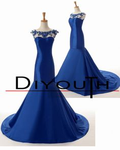 DIYouth Sexy Backless Delicate Sheer Scoop Neckline Sleeveless Beaded Crystal Royal Blue Mermaid Prom Dresses 2015