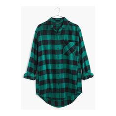 Flannel Sunday Shirt in Buffalo Check ❤ liked on Polyvore featuring tops, flannel shirt, flannel button up shirts, flannel button-down shirts, long button up shirt and blue top