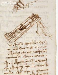 Detail Showing a Pile Driver from Codex Leicester by Leonardo da Vinci #TuscanyAgriturismoGiratola